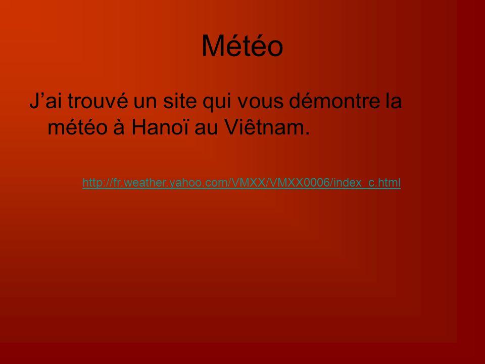 Météo Jai trouvé un site qui vous démontre la météo à Hanoï au Viêtnam.