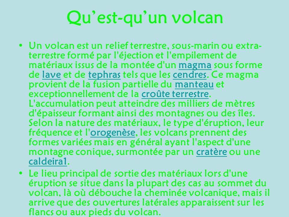 Quest-quun volcan Un volcan est un relief terrestre, sous-marin ou extra- terrestre formé par l'éjection et l'empilement de matériaux issus de la mont