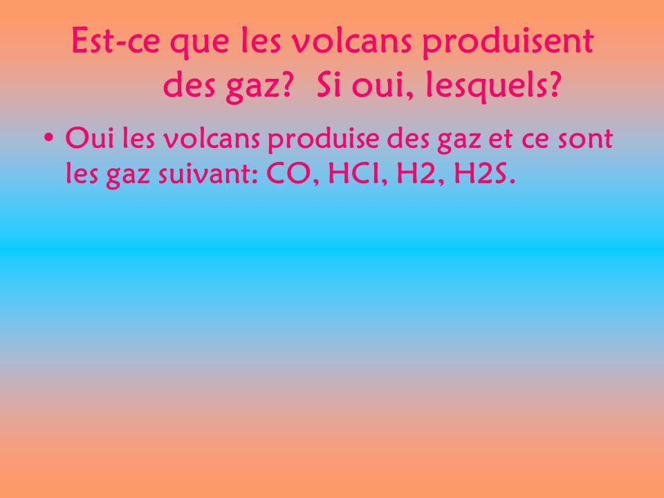 Est-ce que les volcans produisent des gaz? Si oui, lesquels? Oui les volcans produise des gaz et ce sont les gaz suivant: CO, HCI, H2, H2S.