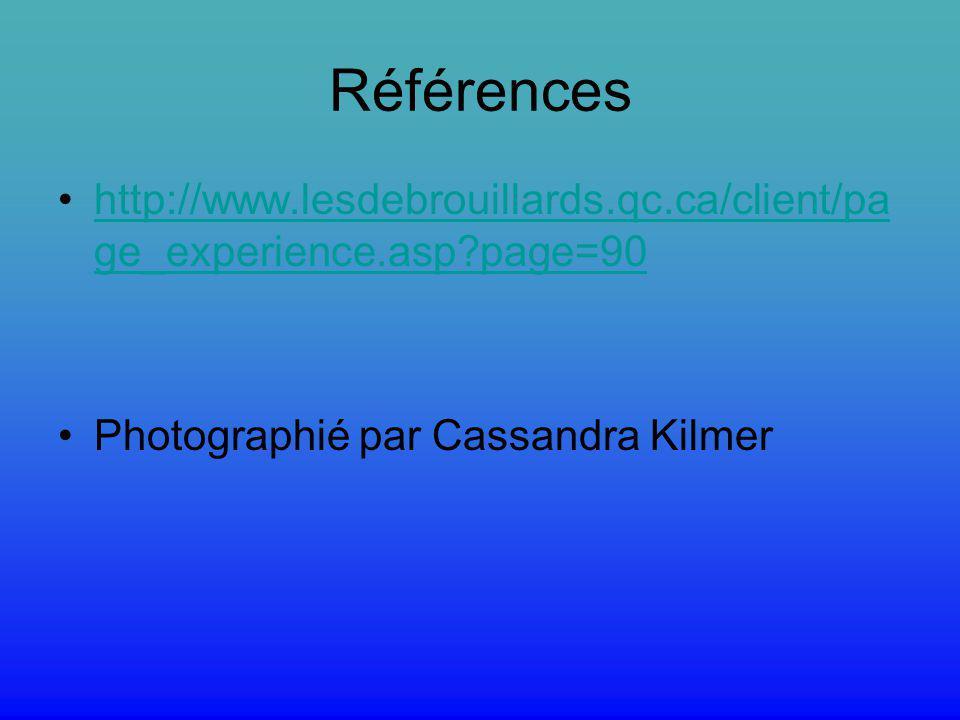 Références http://www.lesdebrouillards.qc.ca/client/pa ge_experience.asp?page=90 Photographié par Cassandra Kilmer