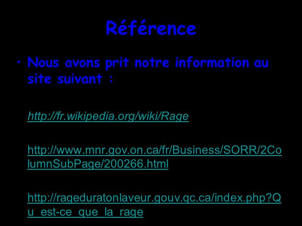 Référence Nous avons prit notre information au site suivant : http://fr.wikipedia.org/wiki/Rage http://www.mnr.gov.on.ca/fr/Business/SORR/2Co lumnSubPage/200266.htmlhttp://www.mnr.gov.on.ca/fr/Business/SORR/2Co lumnSubPage/200266.html http://rageduratonlaveur.gouv.qc.ca/index.php?Q u_est-ce_que_la_ragehttp://rageduratonlaveur.gouv.qc.ca/index.php?Q u_est-ce_que_la_rage