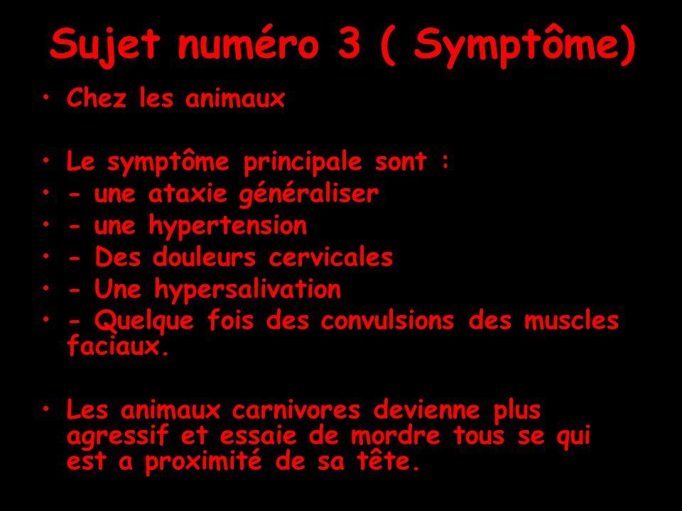 Sujet numéro 3 ( Symptôme) Chez les animaux Le symptôme principale sont : - une ataxie généraliser - une hypertension - Des douleurs cervicales - Une hypersalivation - Quelque fois des convulsions des muscles faciaux.