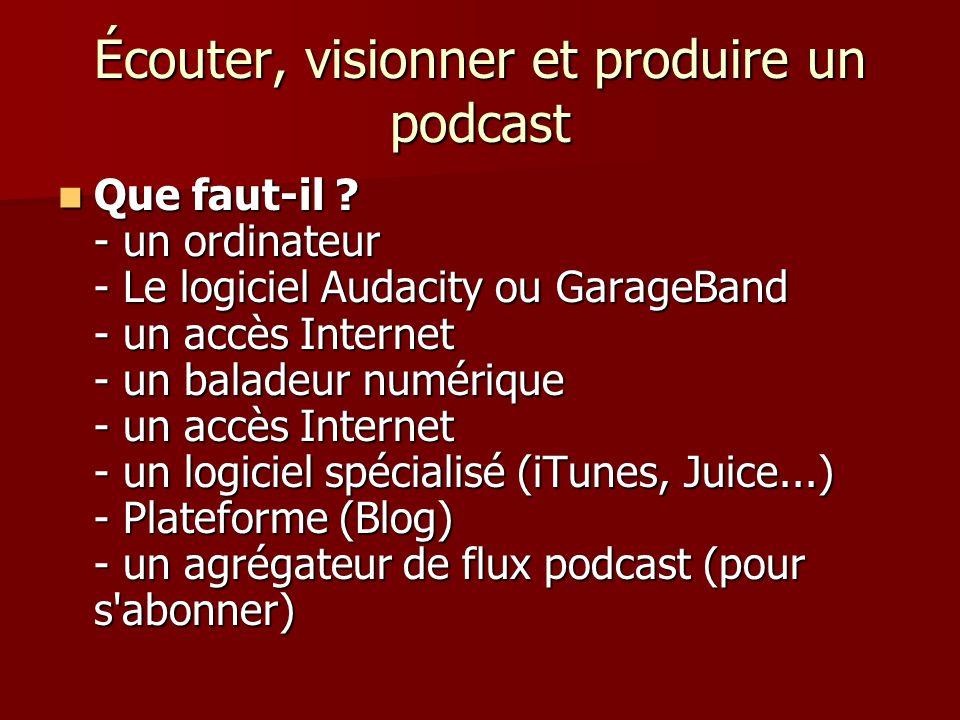 Écouter, visionner et produire un podcast Que faut-il .