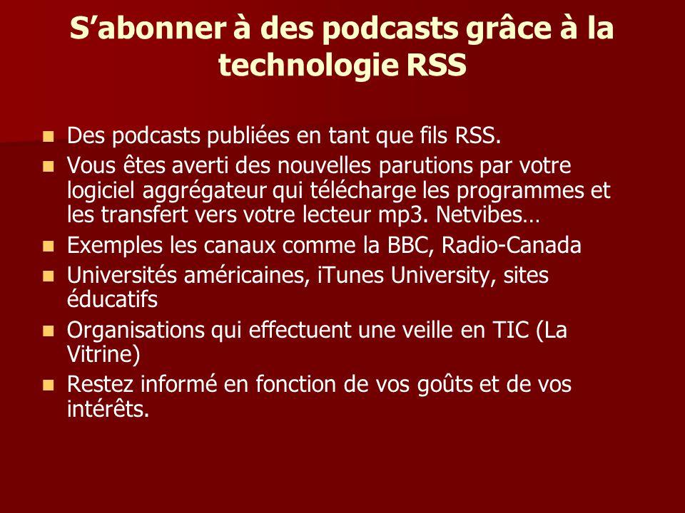 Sabonner à des podcasts grâce à la technologie RSS Des podcasts publiées en tant que fils RSS.