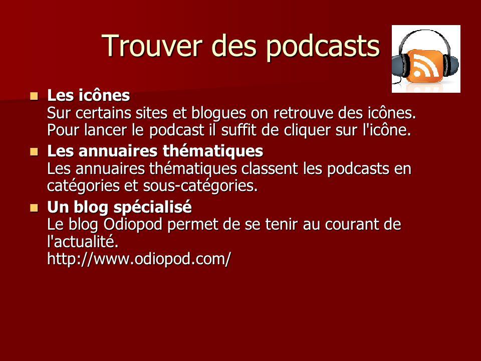 Trouver des podcasts Les icônes Sur certains sites et blogues on retrouve des icônes.