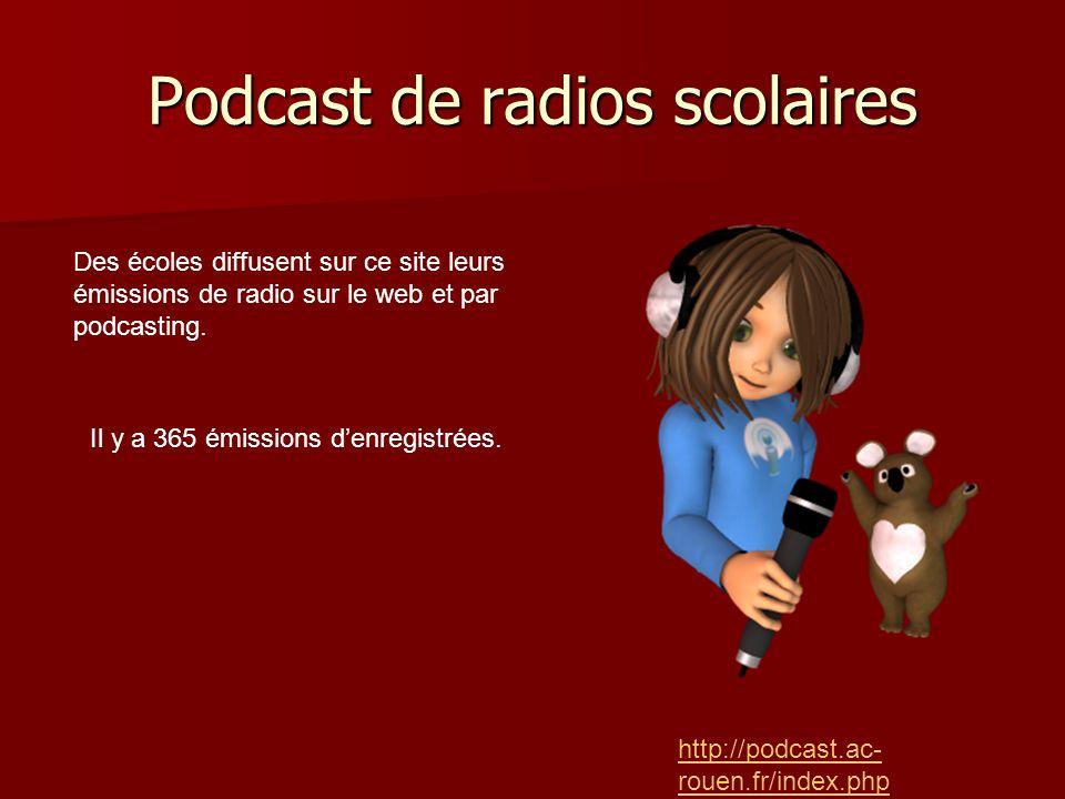 Podcast de radios scolaires http://podcast.ac- rouen.fr/index.php Des écoles diffusent sur ce site leurs émissions de radio sur le web et par podcasting.
