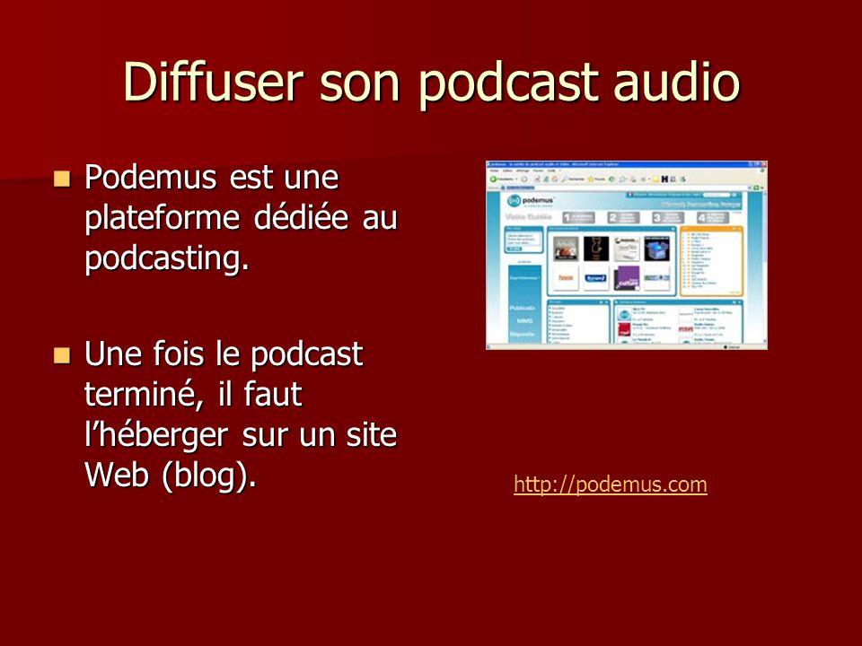 Diffuser son podcast audio Podemus est une plateforme dédiée au podcasting.