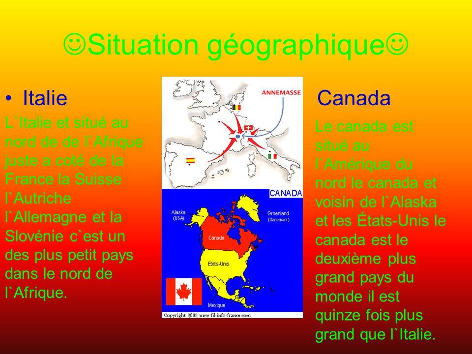 Situation géographique Italie Canada L`Italie et situé au nord de de l`Afrique juste a coté de la France la Suisse l`Autriche l`Allemagne et la Slovénie c`est un des plus petit pays dans le nord de l`Afrique.