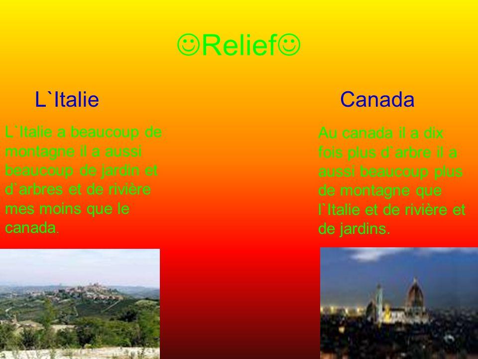 Relief L`Italie Canada L`Italie a beaucoup de montagne il a aussi beaucoup de jardin et d`arbres et de rivière mes moins que le canada.