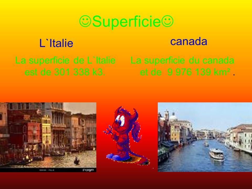 Superficie La superficie de L`Italie est de 301 338 k3.