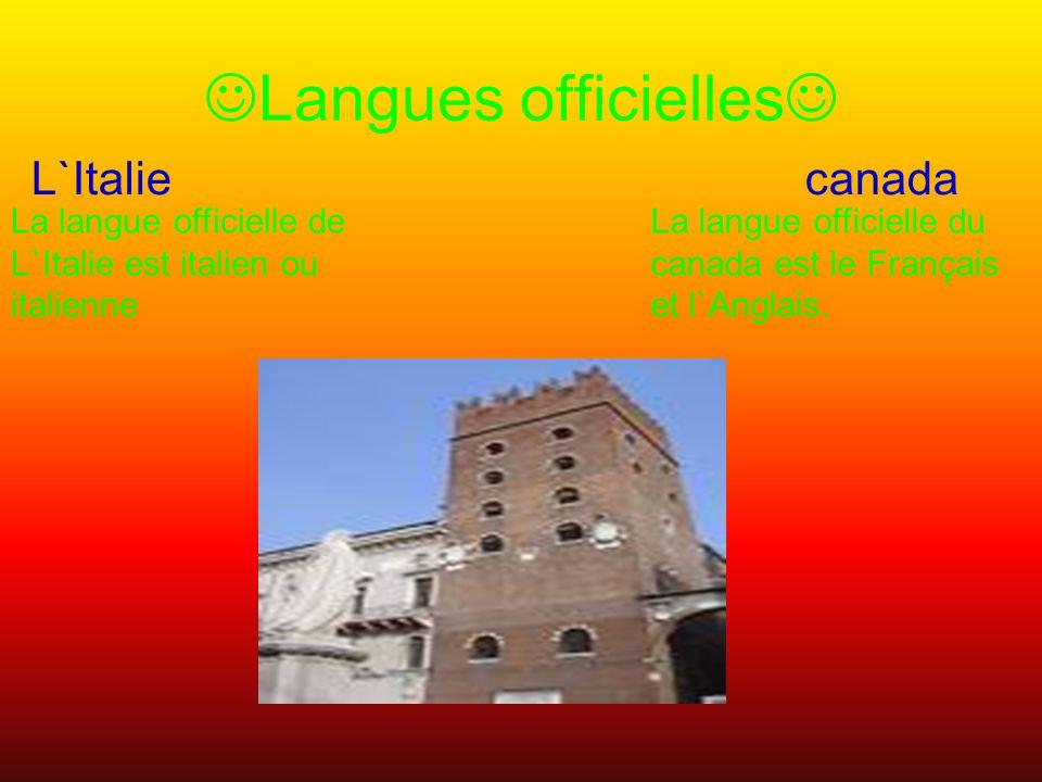 Langues officielles L`Italie canada La langue officielle du canada est le Français et l`Anglais.