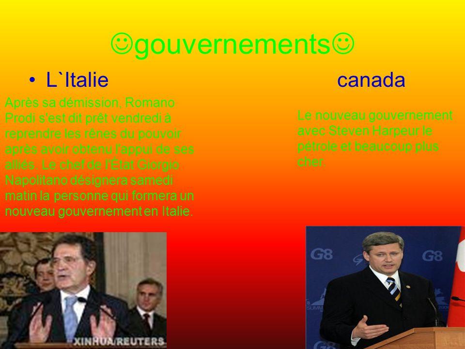 gouvernements L`Italie canada Après sa démission, Romano Prodi s est dit prêt vendredi à reprendre les rênes du pouvoir après avoir obtenu l appui de ses alliés.