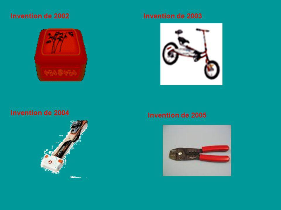 Invention de 2002Invention de 2003 Invention de 2004 Invention de 2005
