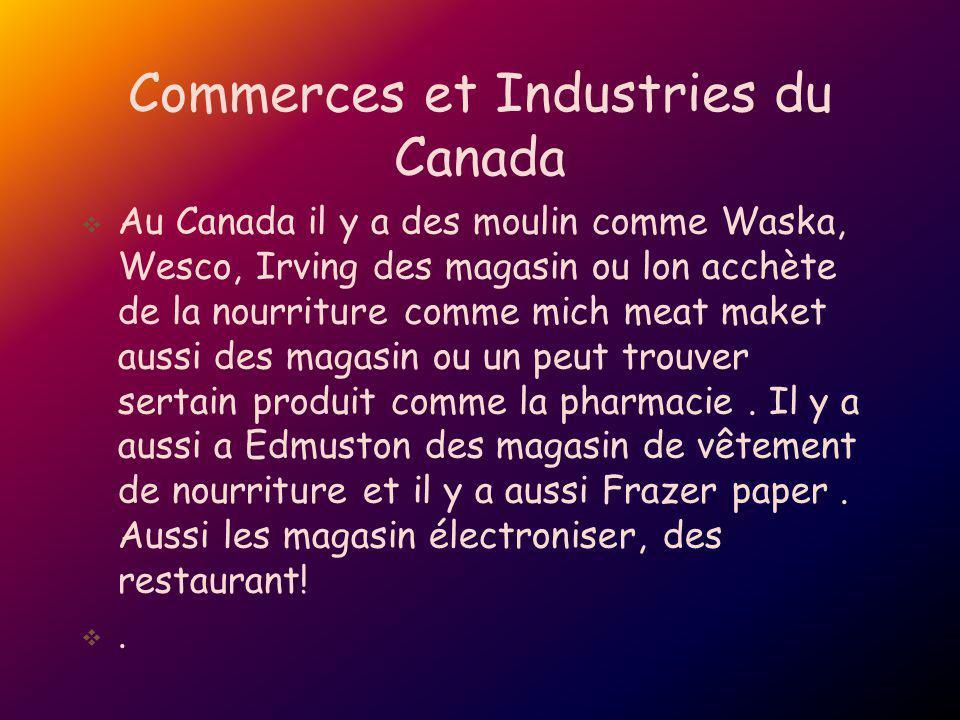Commerces et Industries du Canada Au Canada il y a des moulin comme Waska, Wesco, Irving des magasin ou lon acchète de la nourriture comme mich meat m
