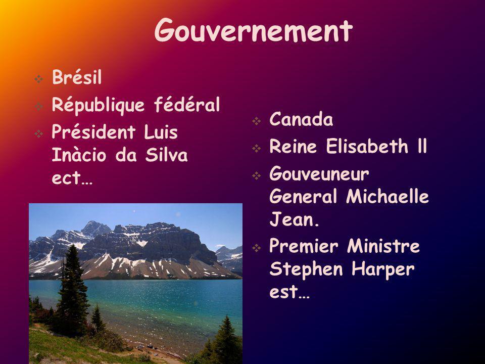 Gouvernement Brésil République fédéral Président Luis Inàcio da Silva ect… Canada Reine Elisabeth ll Gouveuneur General Michaelle Jean. Premier Minist