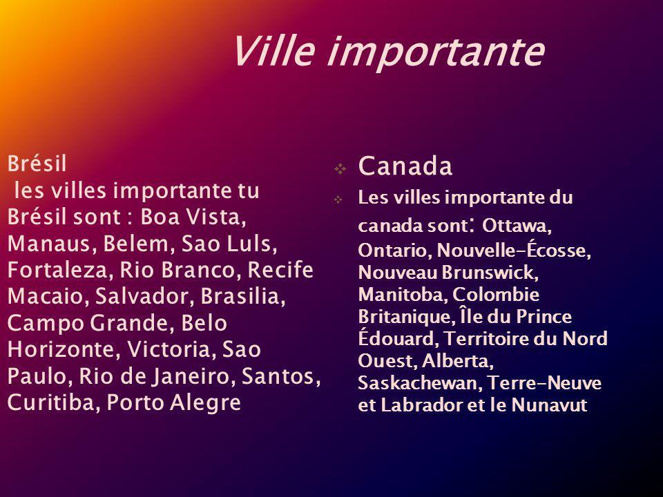 Ville importante Canada Les villes importante du canada sont : Ottawa, Ontario, Nouvelle-Écosse, Nouveau Brunswick, Manitoba, Colombie Britanique, Île
