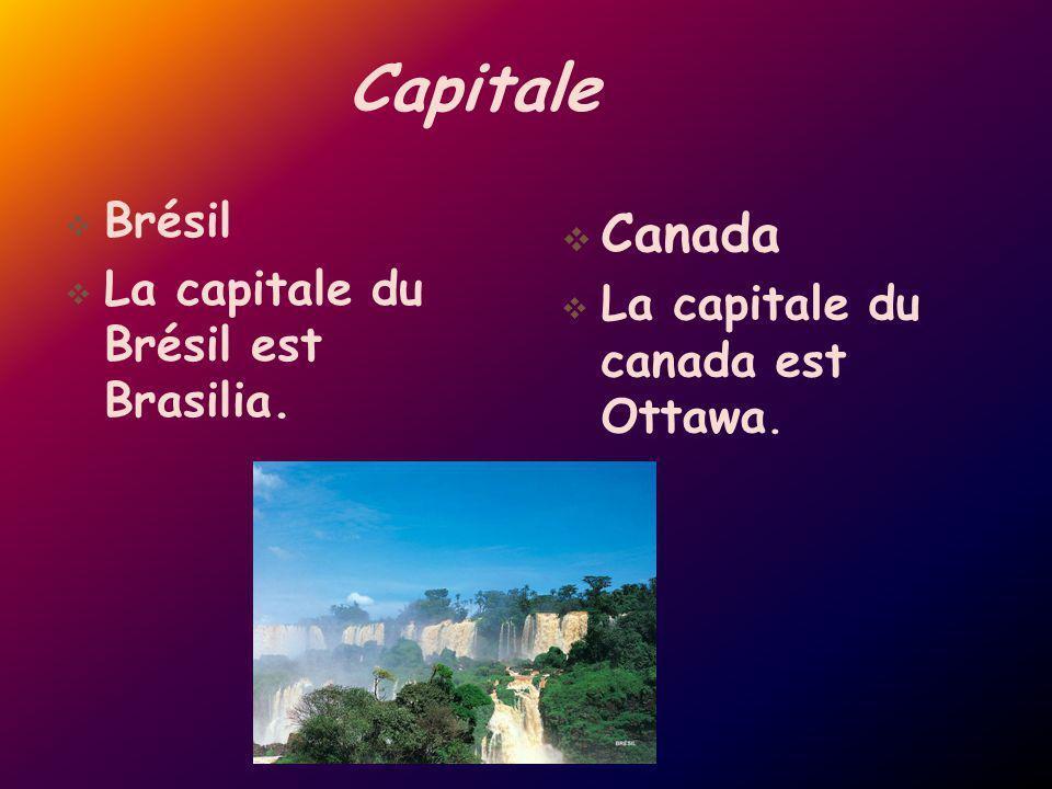 Capitale Brésil La capitale du Brésil est Brasilia. Canada La capitale du canada est Ottawa.