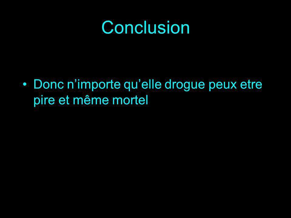 Conclusion Donc nimporte quelle drogue peux etre pire et même mortel