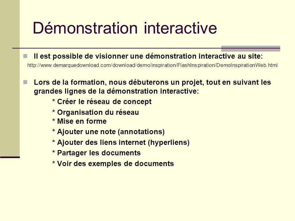 Démonstration interactive Il est possible de visionner une démonstration interactive au site: http://www.demarquedownload.com/download/demo/inspiratio