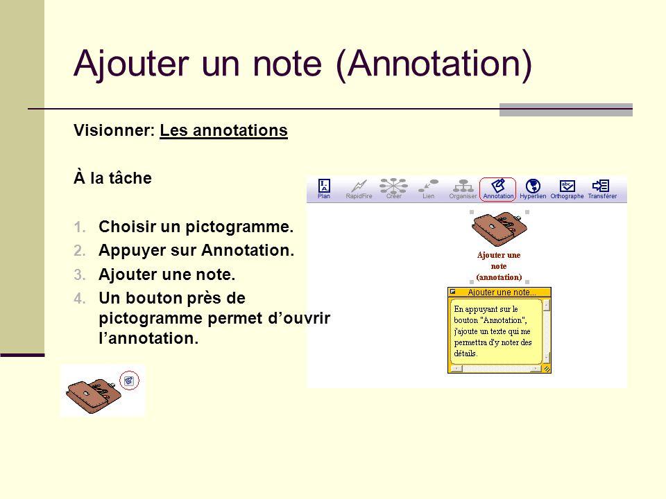 Ajouter un note (Annotation) Visionner: Les annotations À la tâche 1. Choisir un pictogramme. 2. Appuyer sur Annotation. 3. Ajouter une note. 4. Un bo