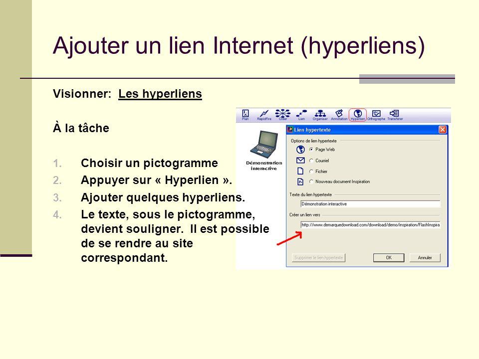 Ajouter un lien Internet (hyperliens) Visionner: Les hyperliens À la tâche 1. Choisir un pictogramme 2. Appuyer sur « Hyperlien ». 3. Ajouter quelques