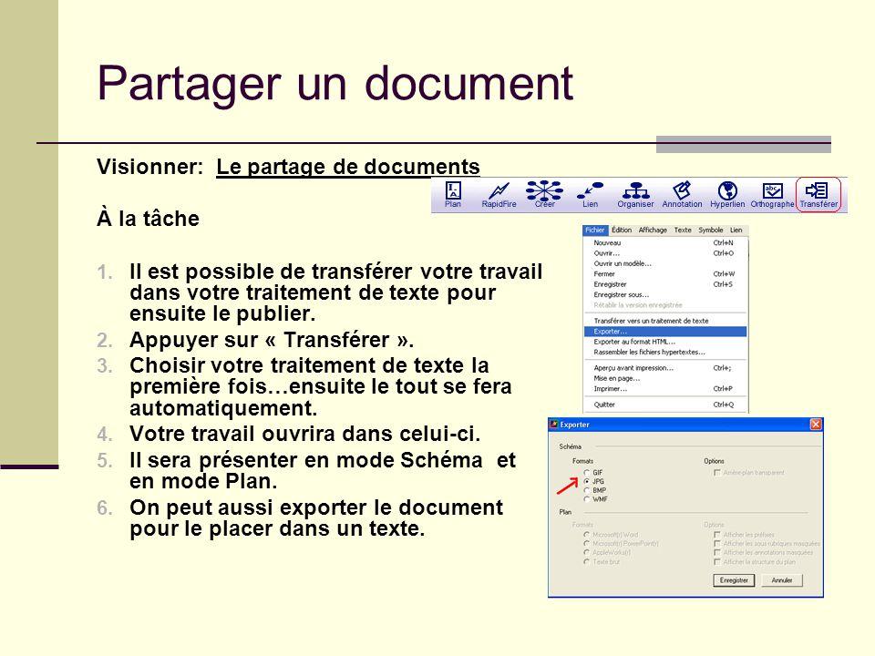 Partager un document Visionner: Le partage de documents À la tâche 1. Il est possible de transférer votre travail dans votre traitement de texte pour