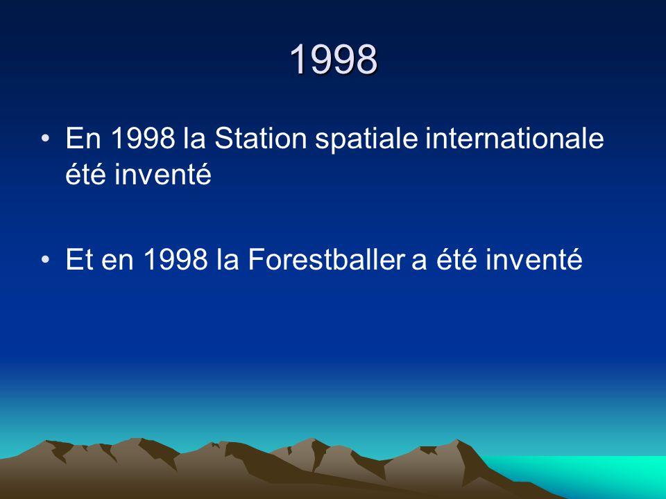1998 En 1998 la Station spatiale internationale été inventé Et en 1998 la Forestballer a été inventé