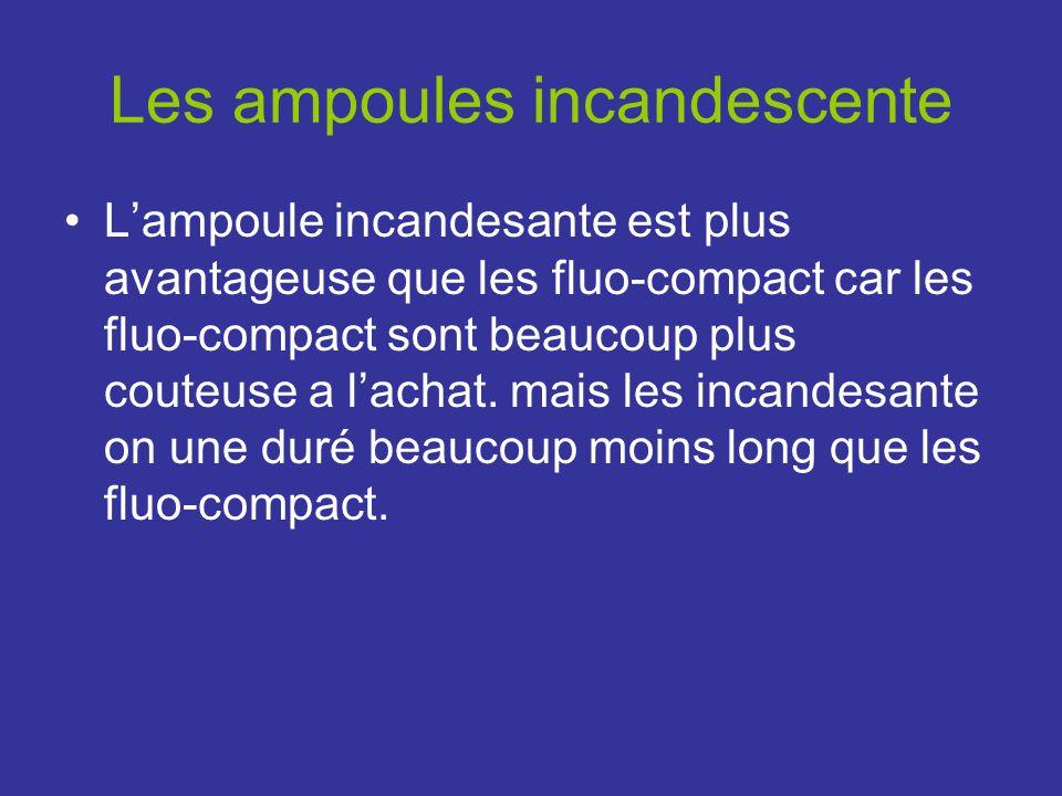 Les ampoules incandescente Lampoule incandesante est plus avantageuse que les fluo-compact car les fluo-compact sont beaucoup plus couteuse a lachat.
