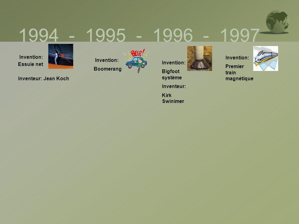 1994 - 1995 - 1996 - 1997 Invention: Essuie net Inventeur: Jean Koch Invention: Boomerang Invention: Bigfoot système Inventeur: Kirk Swinimer Inventio
