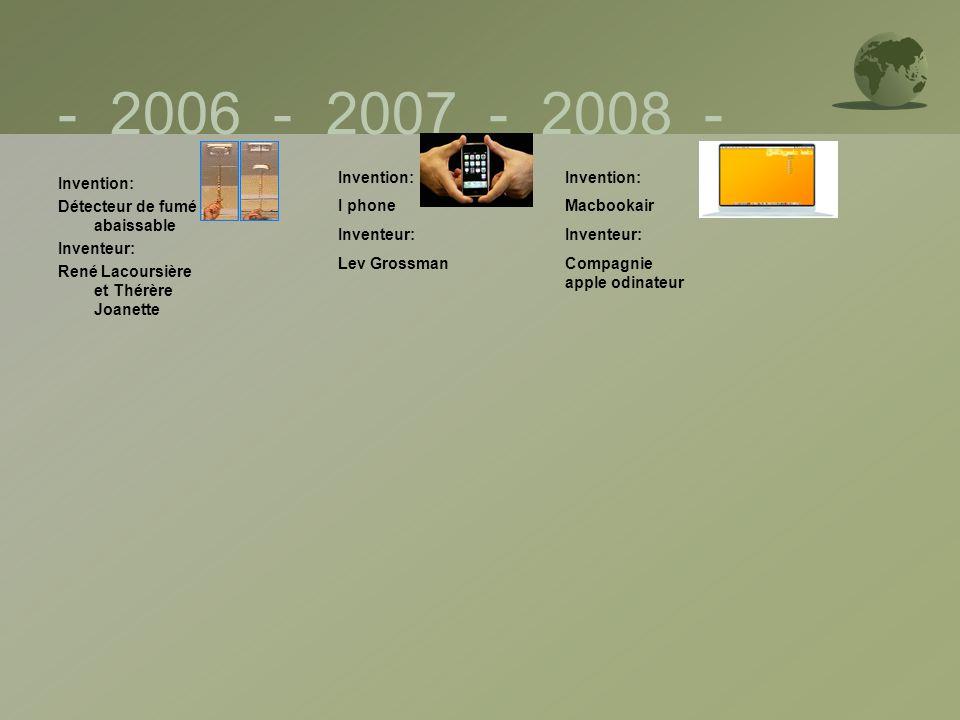 - 2006 - 2007 - 2008 - Invention: Détecteur de fumé abaissable Inventeur: René Lacoursière et Thérère Joanette Invention: I phone Inventeur: Lev Gross