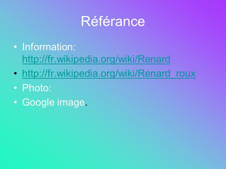 Référance Information: http://fr.wikipedia.org/wiki/Renard http://fr.wikipedia.org/wiki/Renard http://fr.wikipedia.org/wiki/Renard_roux Photo: Google