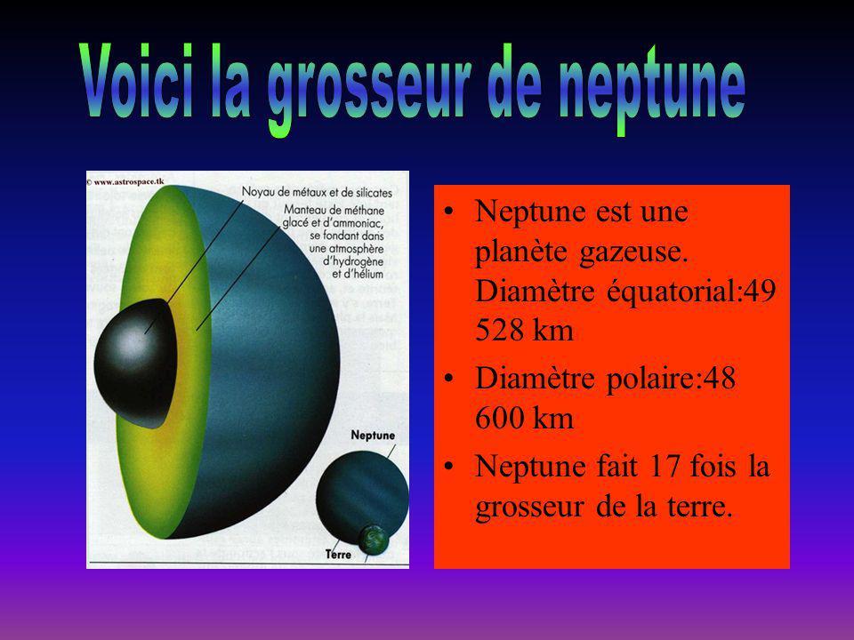 Neptune est une planète gazeuse. Diamètre équatorial:49 528 km Diamètre polaire:48 600 km Neptune fait 17 fois la grosseur de la terre.