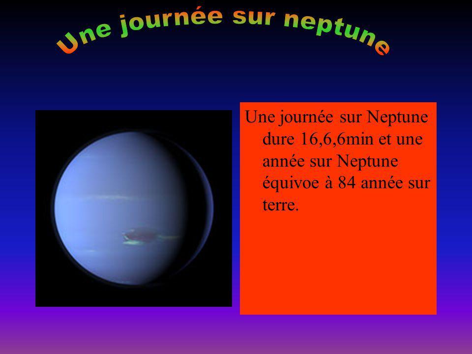 Une journée sur Neptune dure 16,6,6min et une année sur Neptune équivoe à 84 année sur terre.