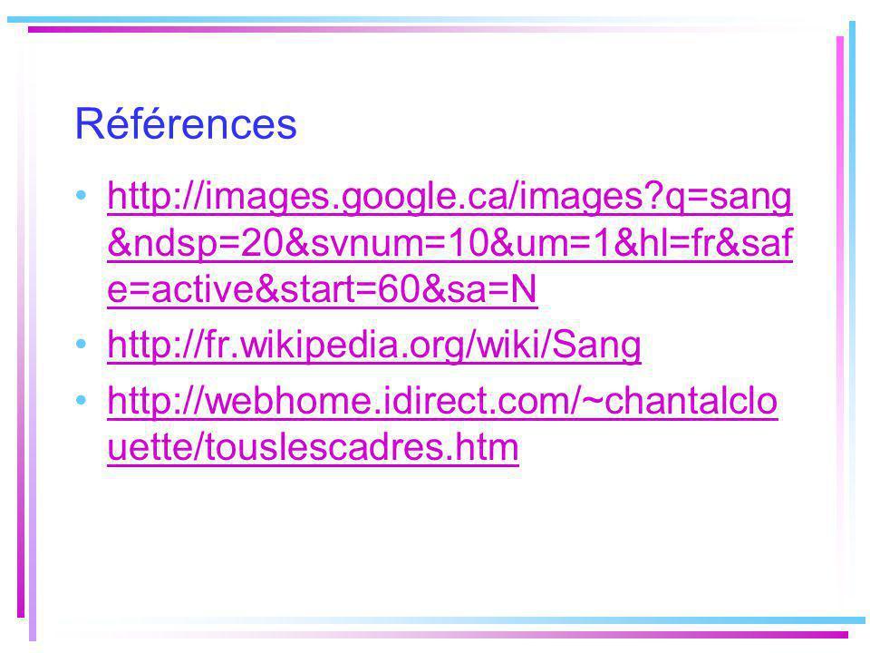 Références http://images.google.ca/images q=sang &ndsp=20&svnum=10&um=1&hl=fr&saf e=active&start=60&sa=N http://fr.wikipedia.org/wiki/Sang http://webhome.idirect.com/~chantalclo uette/touslescadres.htm