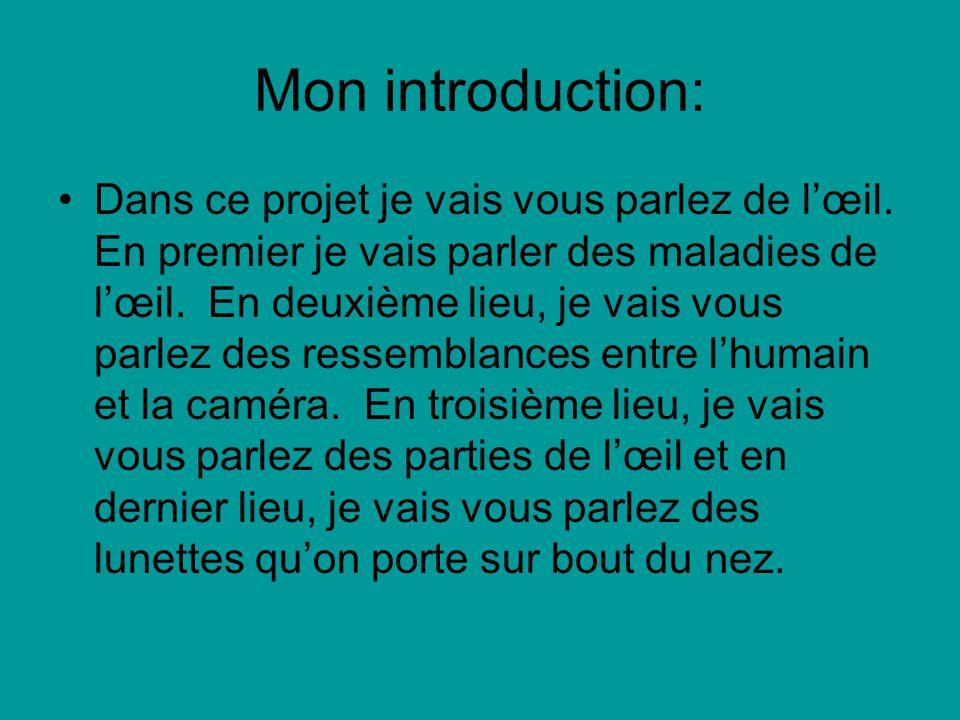Mon introduction: Dans ce projet je vais vous parlez de lœil. En premier je vais parler des maladies de lœil. En deuxième lieu, je vais vous parlez de