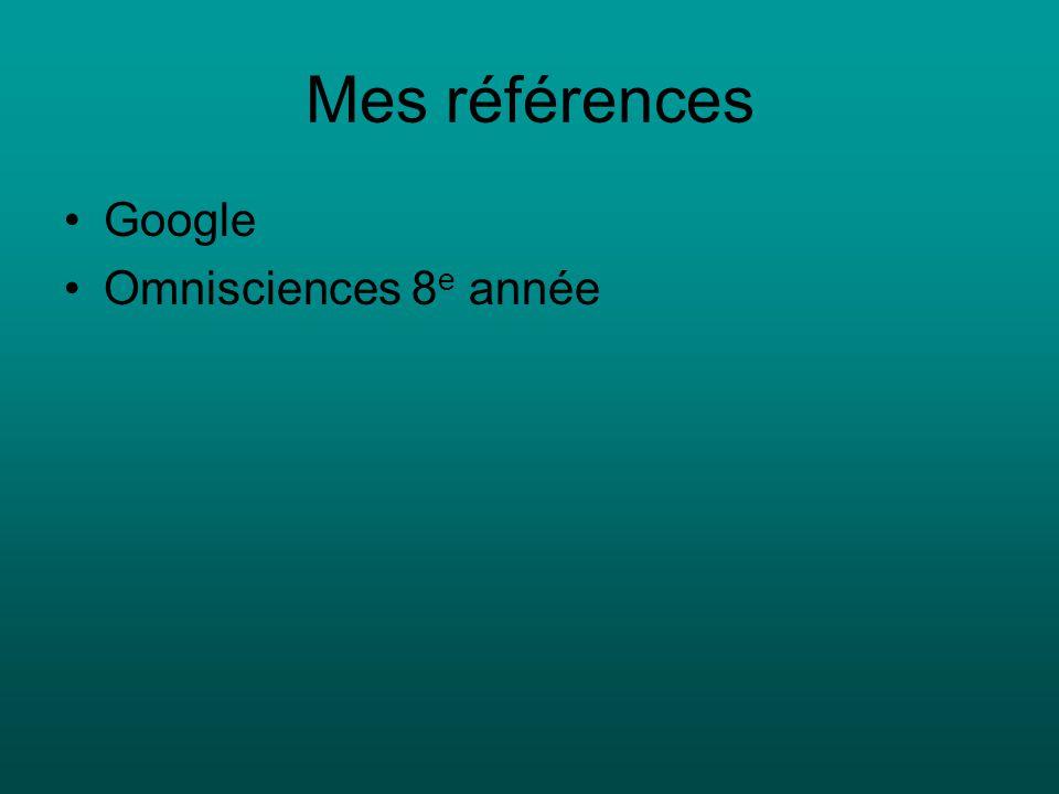 Mes références Google Omnisciences 8 e année