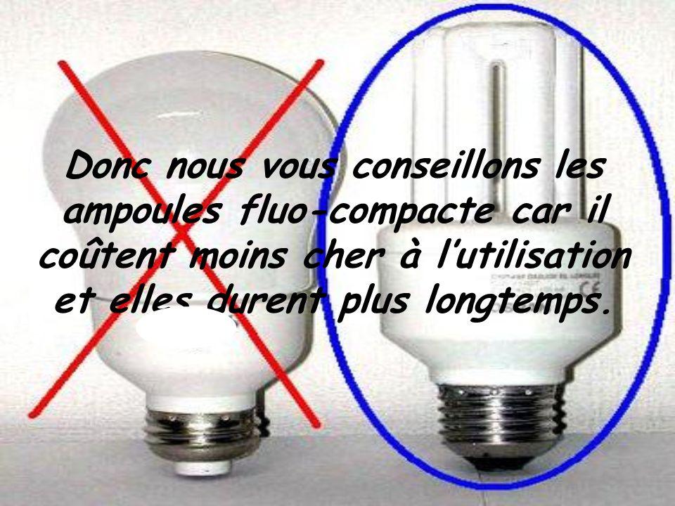 Donc nous vous conseillons les ampoules fluo-compacte car il coûtent moins cher à lutilisation et elles durent plus longtemps.