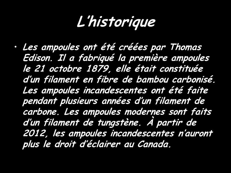Lhistorique Les ampoules ont été créées par Thomas Edison. Il a fabriqué la première ampoules le 21 octobre 1879, elle était constituée dun filament e