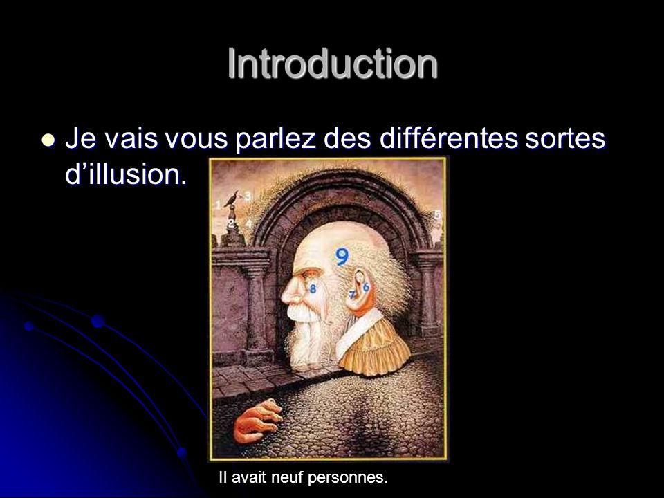 Introduction Je vais vous parlez des différentes sortes dillusion. Je vais vous parlez des différentes sortes dillusion. Il avait neuf personnes.