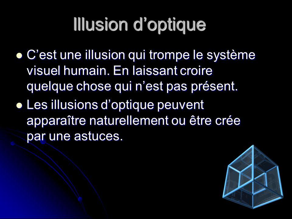 Illusion doptique Cest une illusion qui trompe le système visuel humain. En laissant croire quelque chose qui nest pas présent. Cest une illusion qui