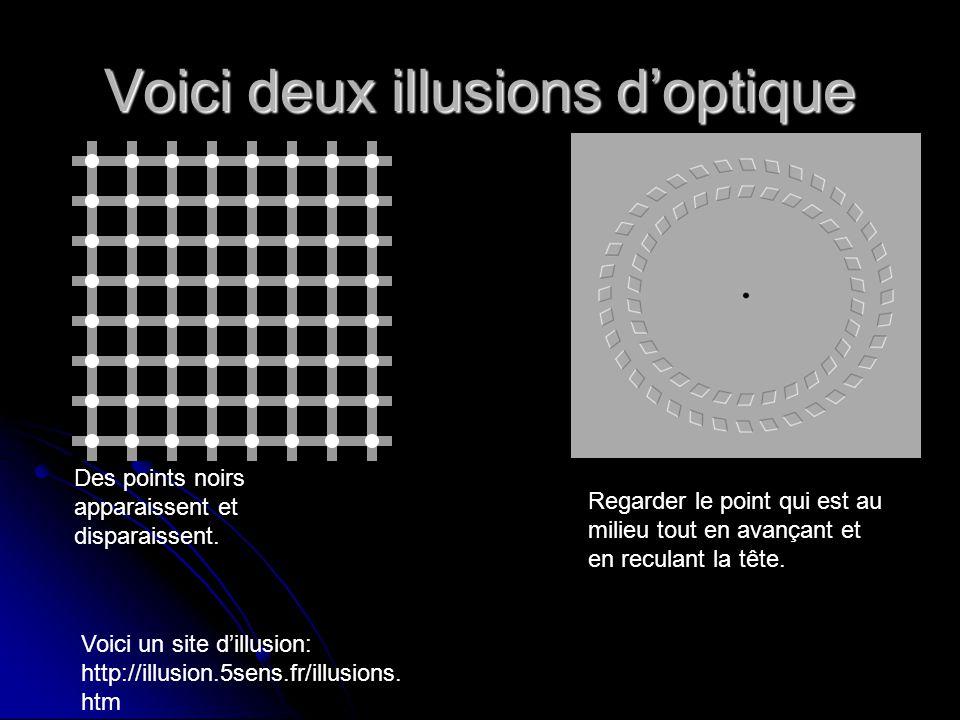 Voici deux illusions doptique Des points noirs apparaissent et disparaissent. Regarder le point qui est au milieu tout en avançant et en reculant la t