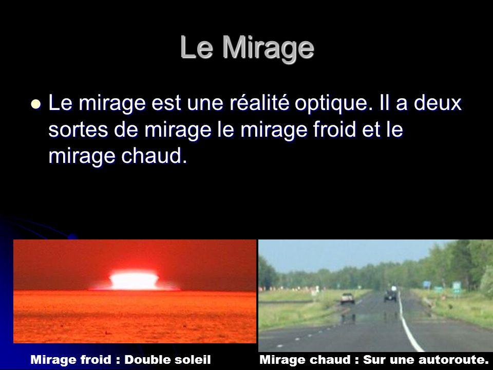 Le Mirage Le mirage est une réalité optique. Il a deux sortes de mirage le mirage froid et le mirage chaud. Le mirage est une réalité optique. Il a de
