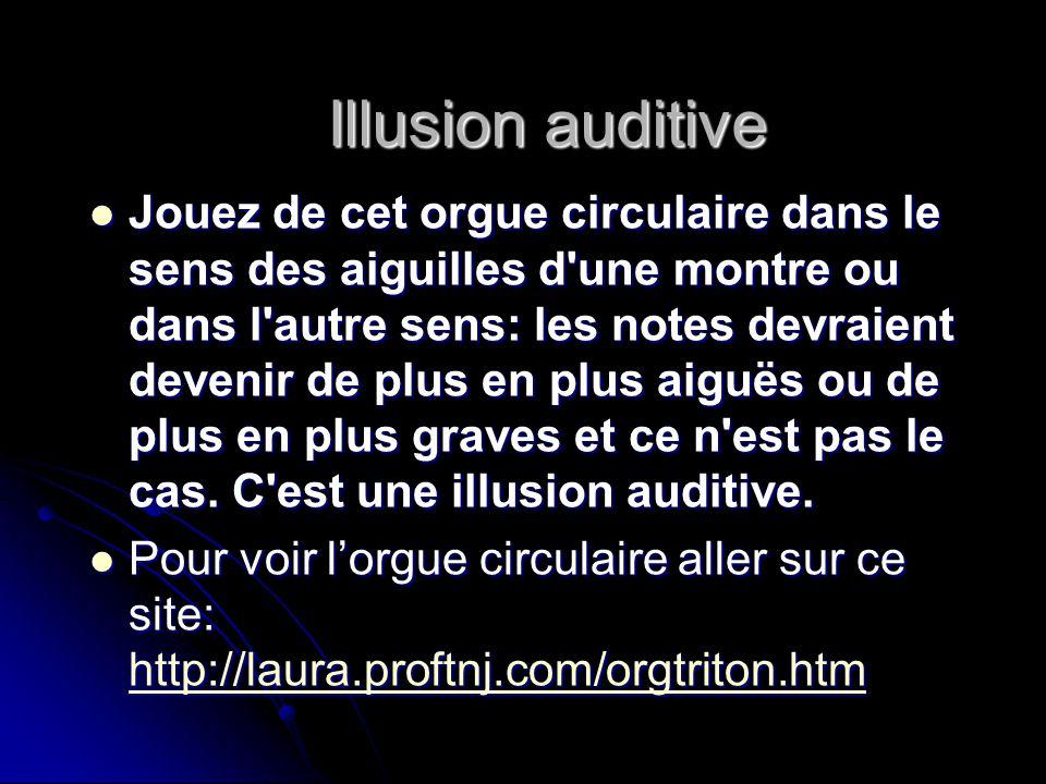 Illusion auditive Jouez de cet orgue circulaire dans le sens des aiguilles d'une montre ou dans l'autre sens: les notes devraient devenir de plus en p