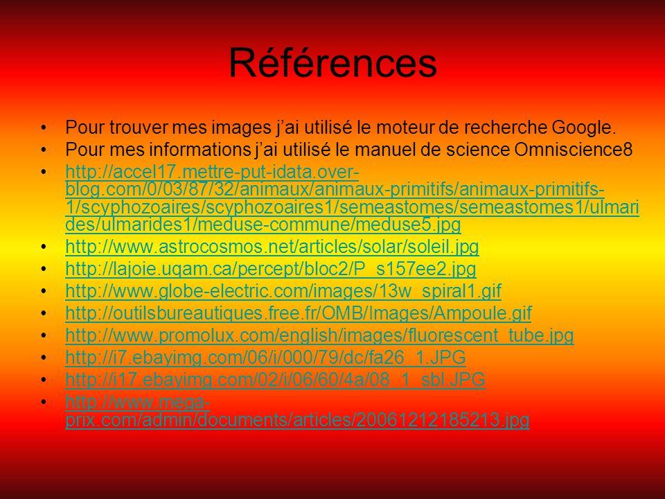 Références Pour trouver mes images jai utilisé le moteur de recherche Google. Pour mes informations jai utilisé le manuel de science Omniscience8 http