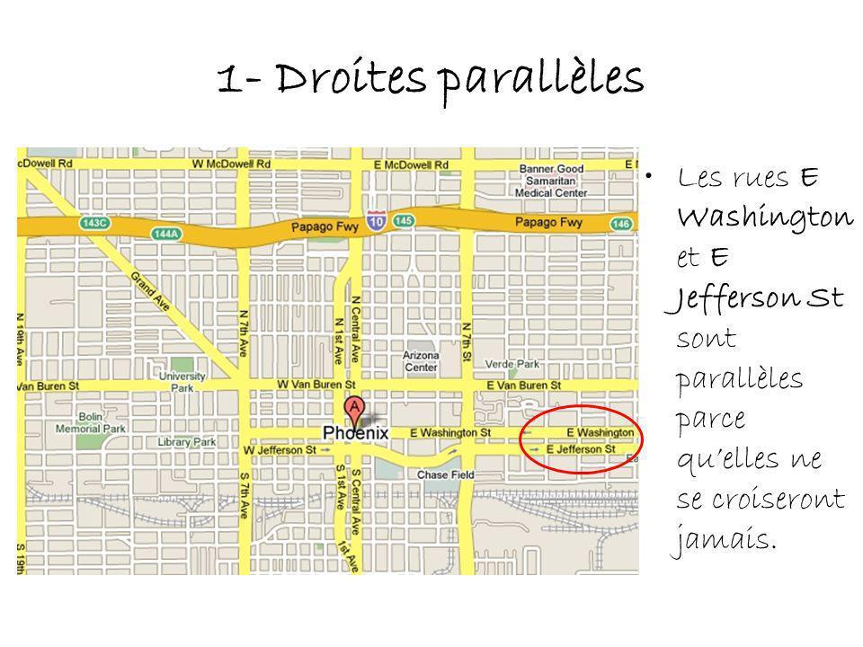1- Droites parallèles Les rues E Washington et E Jefferson St sont parallèles parce quelles ne se croiseront jamais.