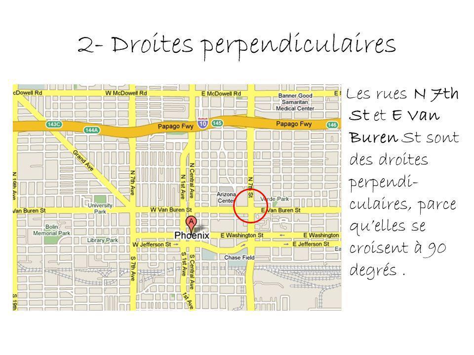 2- Droites perpendiculaires Les rues N 7th St et E Van Buren St sont des droites perpendi- culaires, parce quelles se croisent à 90 degrés.