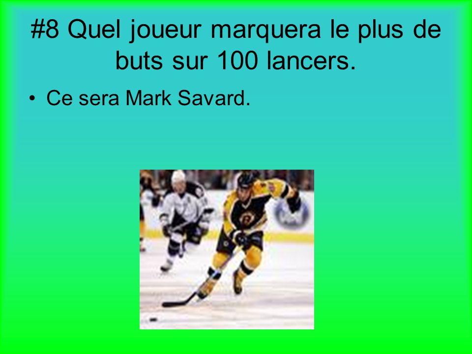 #8 Quel joueur marquera le plus de buts sur 100 lancers. Ce sera Mark Savard.