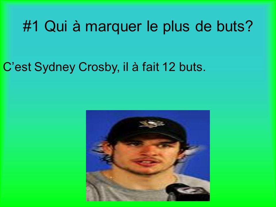 #1 Qui à marquer le plus de buts? Cest Sydney Crosby, il à fait 12 buts.