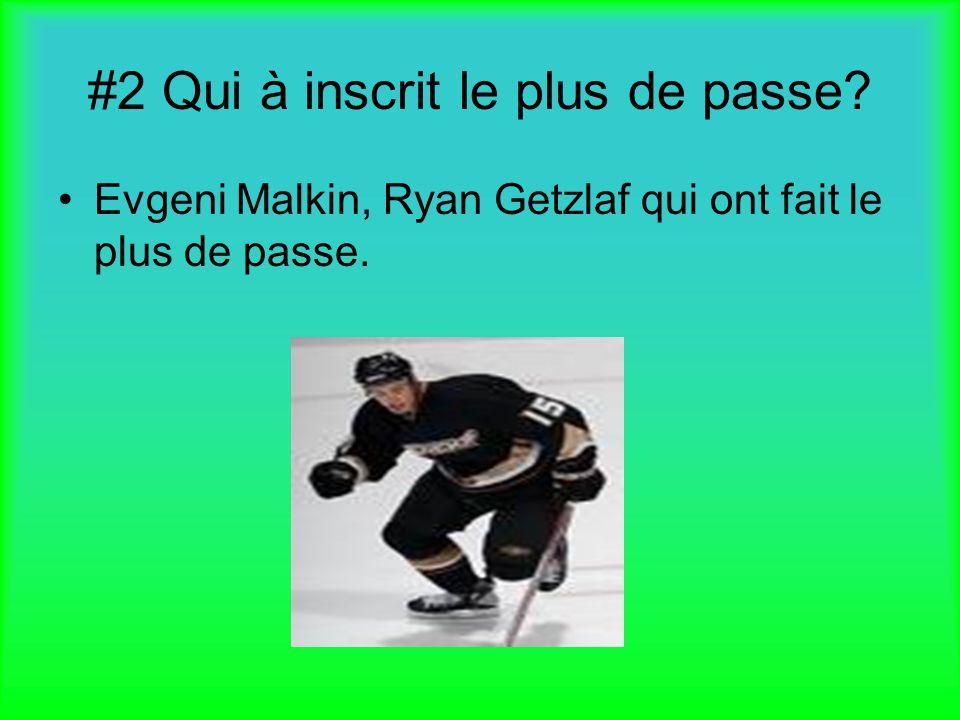 #2 Qui à inscrit le plus de passe? Evgeni Malkin, Ryan Getzlaf qui ont fait le plus de passe.