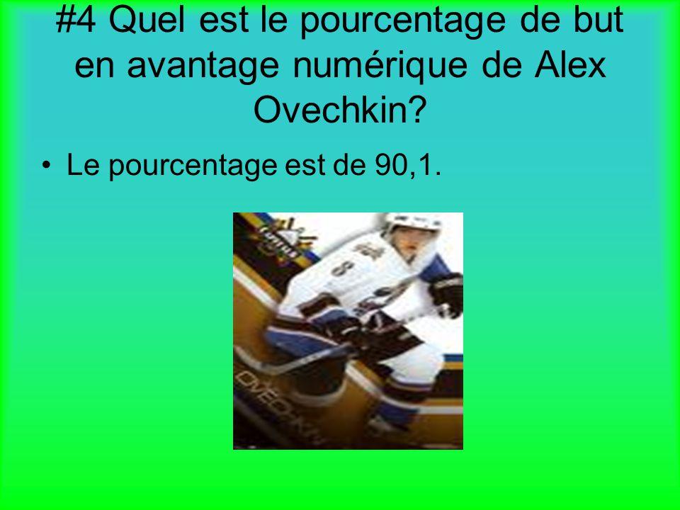 #4 Quel est le pourcentage de but en avantage numérique de Alex Ovechkin? Le pourcentage est de 90,1.